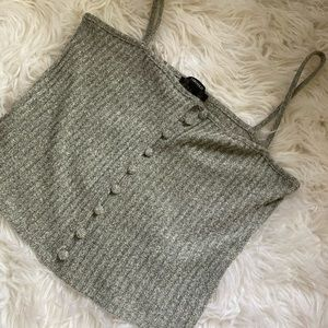 🎃 gray ribbed/button crop from forever 21